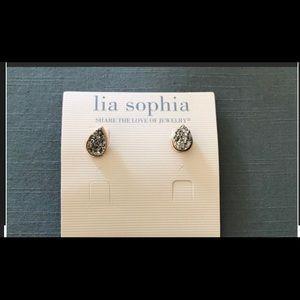 Lia Sophia Silver Druzy Earrings NWOT